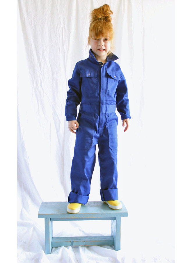 Childrens overall red or cornflower blue