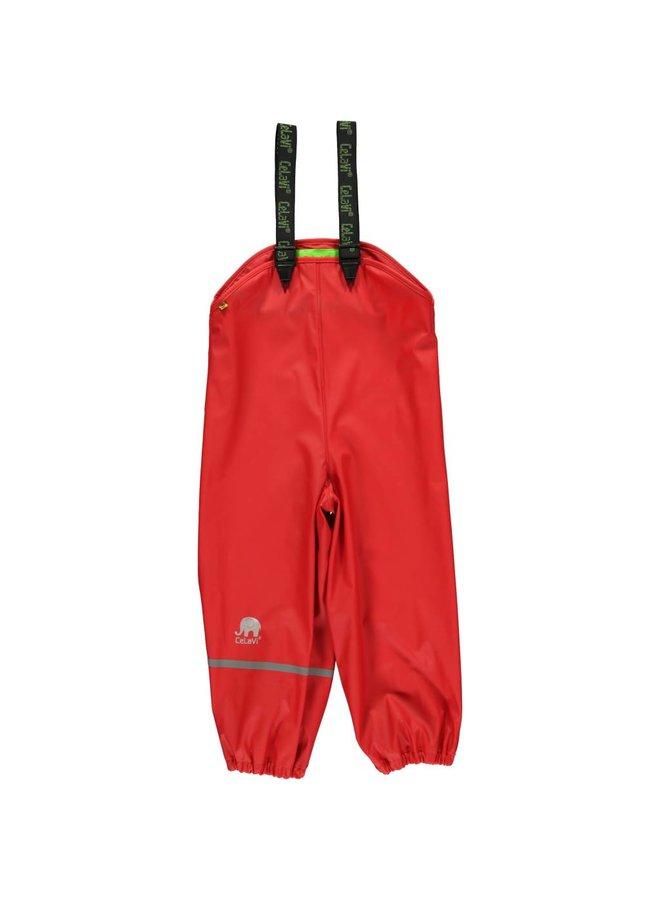 Rode regenbroek met bretels | 70-100
