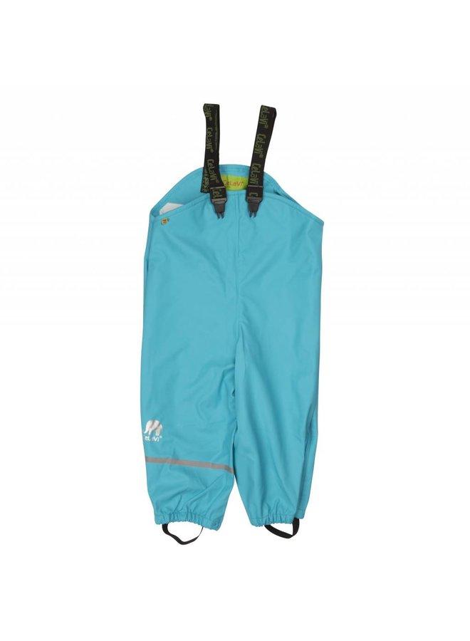 Ocean blue rain pants, waterproof dungarees