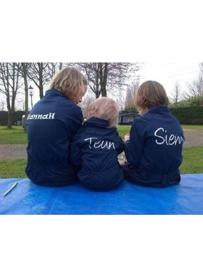 Dark blue overalls with name or text printing