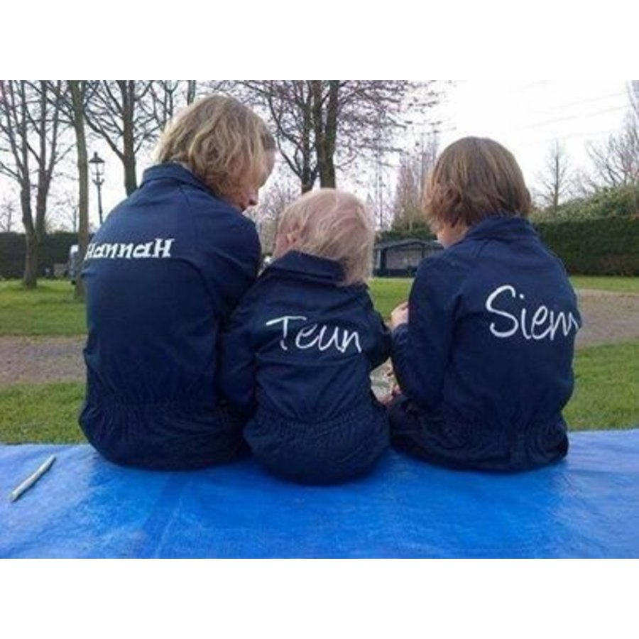 Dark blue overalls with name or text printing-1