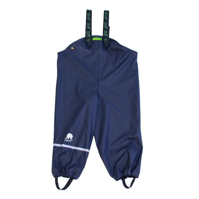 Sustainable children's rain pants navy blue | braces | 110-130