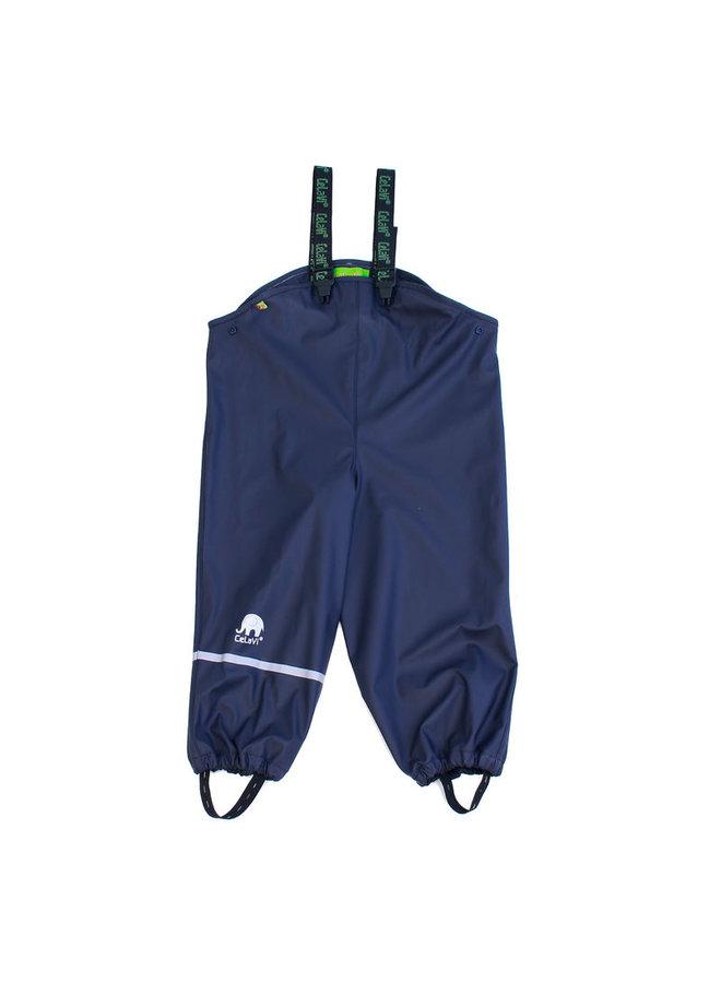 Duurzame kinderregenbroek | navy blauw | bretels | 110-130
