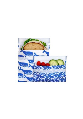 Lunchskins Set of a sandwich and a snack bag Blue whale