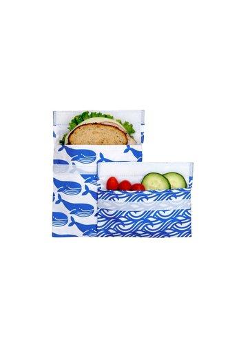 Lunchskins Set van een sandwich- en een snack zakje | Blue Whale