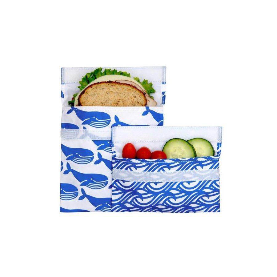 Set van een herbruikbaar sandwich- en snackzakje | Blue Whale-1