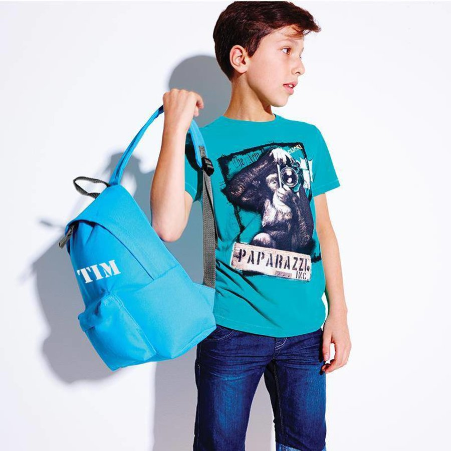 Junior backpack with name print and border of elephants-2