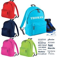 thumb-Junior backpack with name print and border of elephants-3