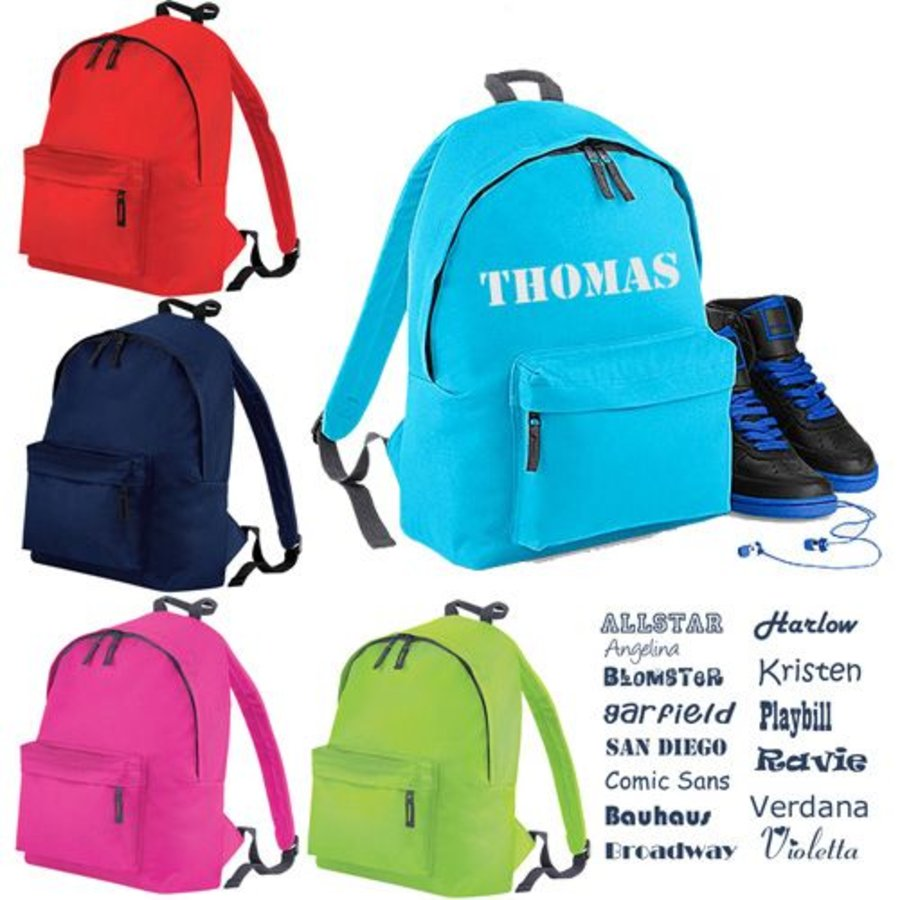 Junior backpack with name print and border of elephants-3