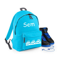 thumb-Junior backpack with name print and tractors-1