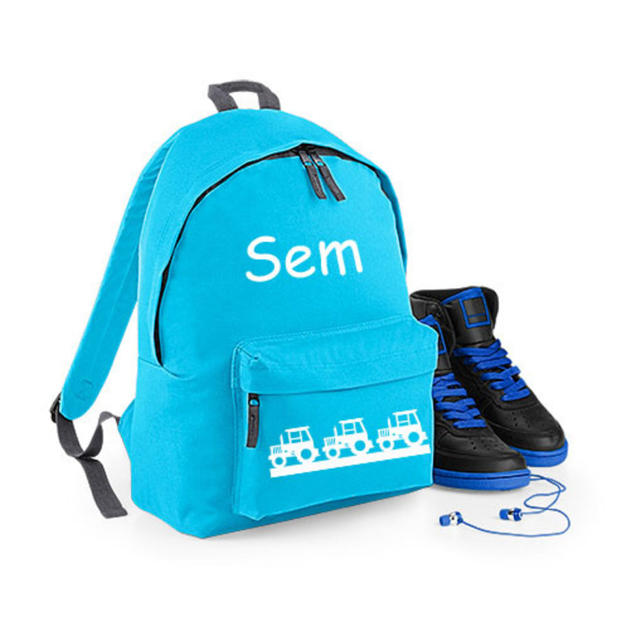 Junior backpack with name print and tractors-1
