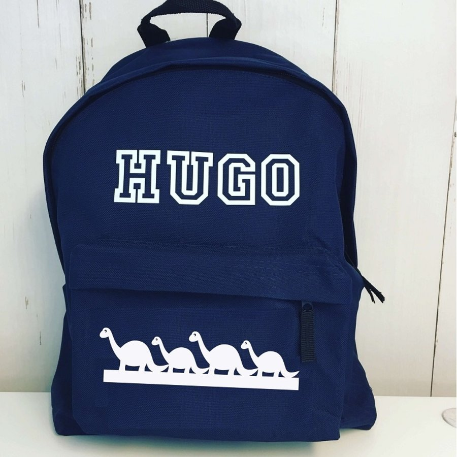 Junior backpack with name printing and dinosaurs-2