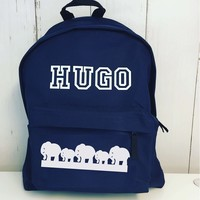 thumb-Junior backpack with name print and border of elephants-1