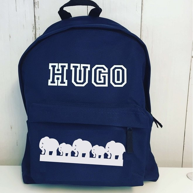 Junior backpack with name print and border of elephants