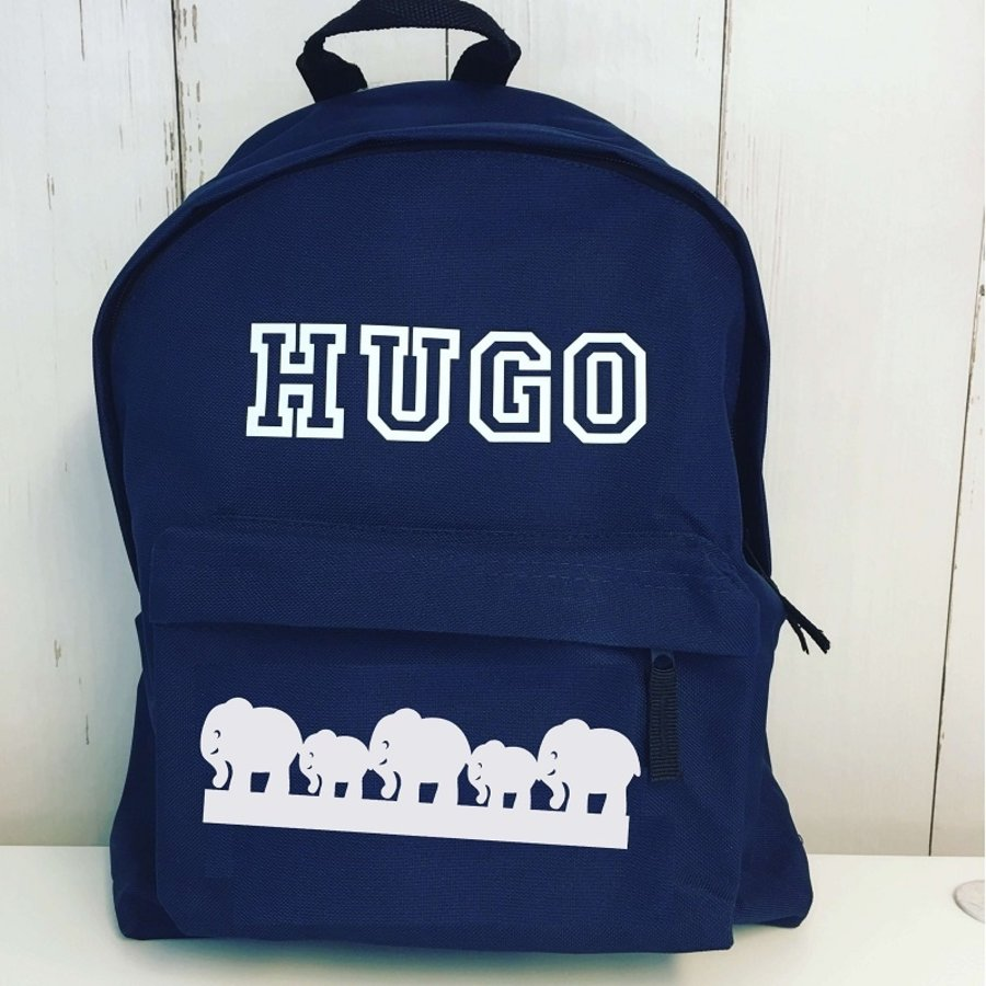 Junior backpack with name print and border of elephants-1