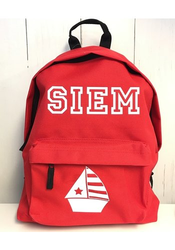 Junior backpack with name and sailboat