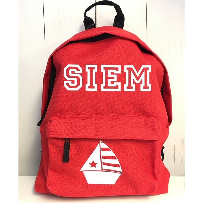 Junior backpack with name print and sailboat