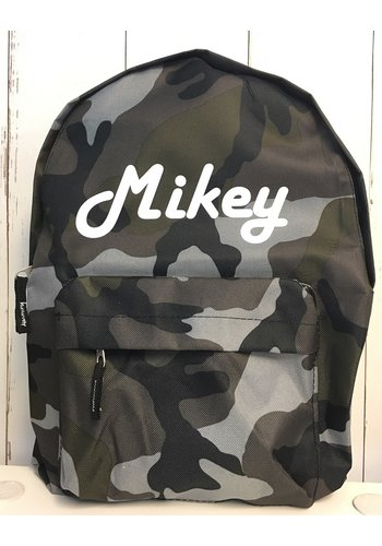 Junior camouflage backpack with name