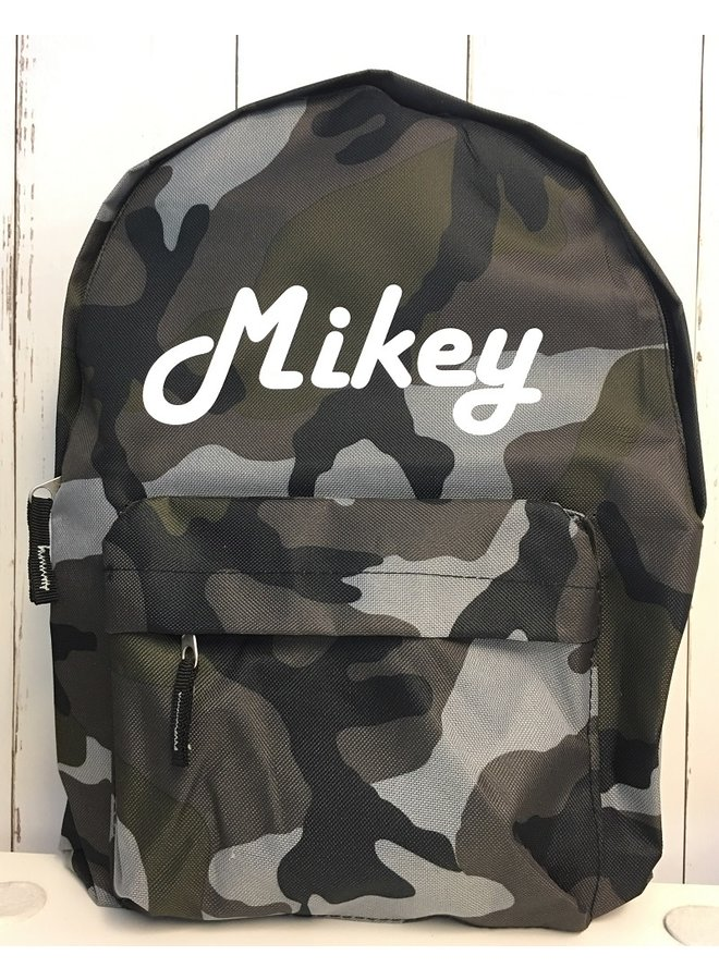 Junior camouflage backpack with name print