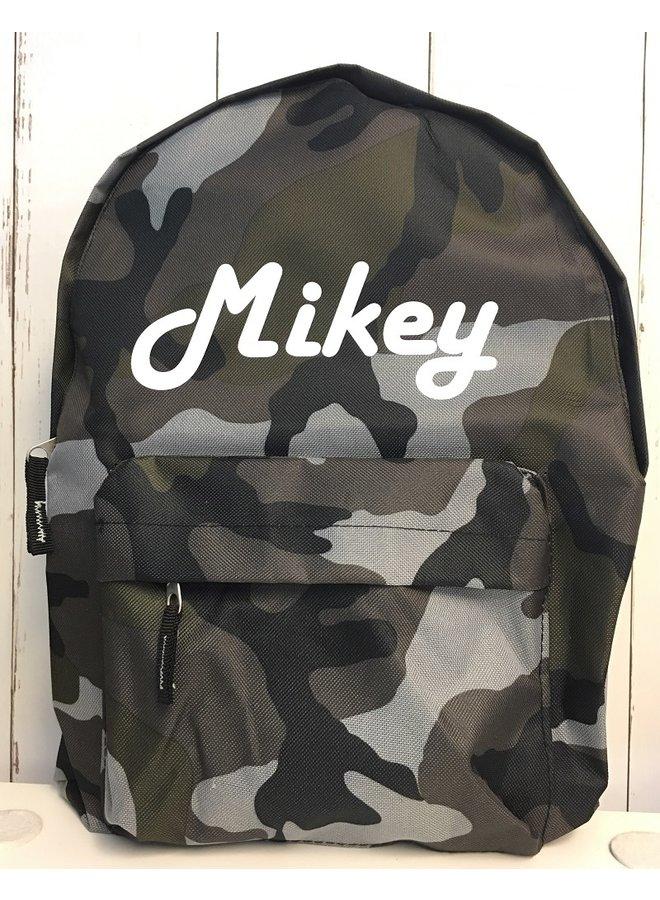 Junior camouflage rugzak met naambedrukking