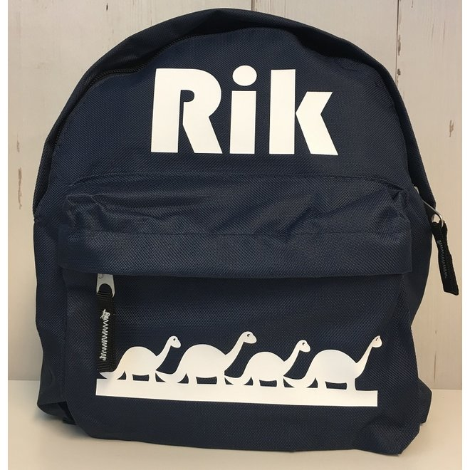 Toddler backpack with name and border of dinosaurs