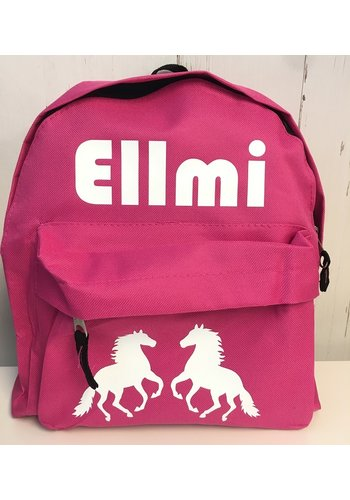 Toddler backpack with name and horses