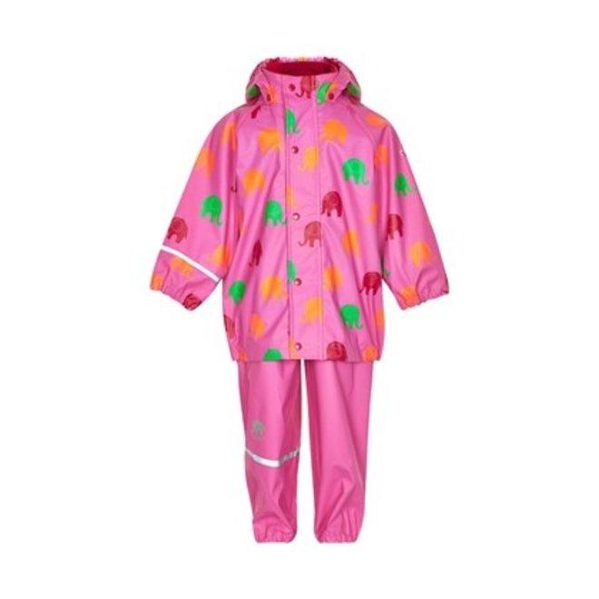 Regenpak: roze regenbroek en jas olifant maat 140