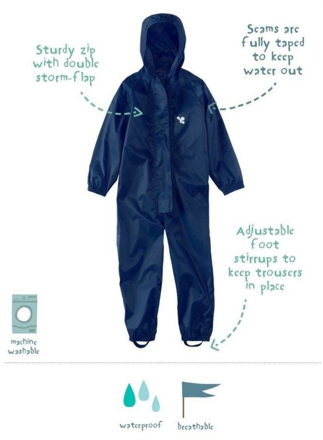Waterproof overall, rain overall - navy blue large sizes