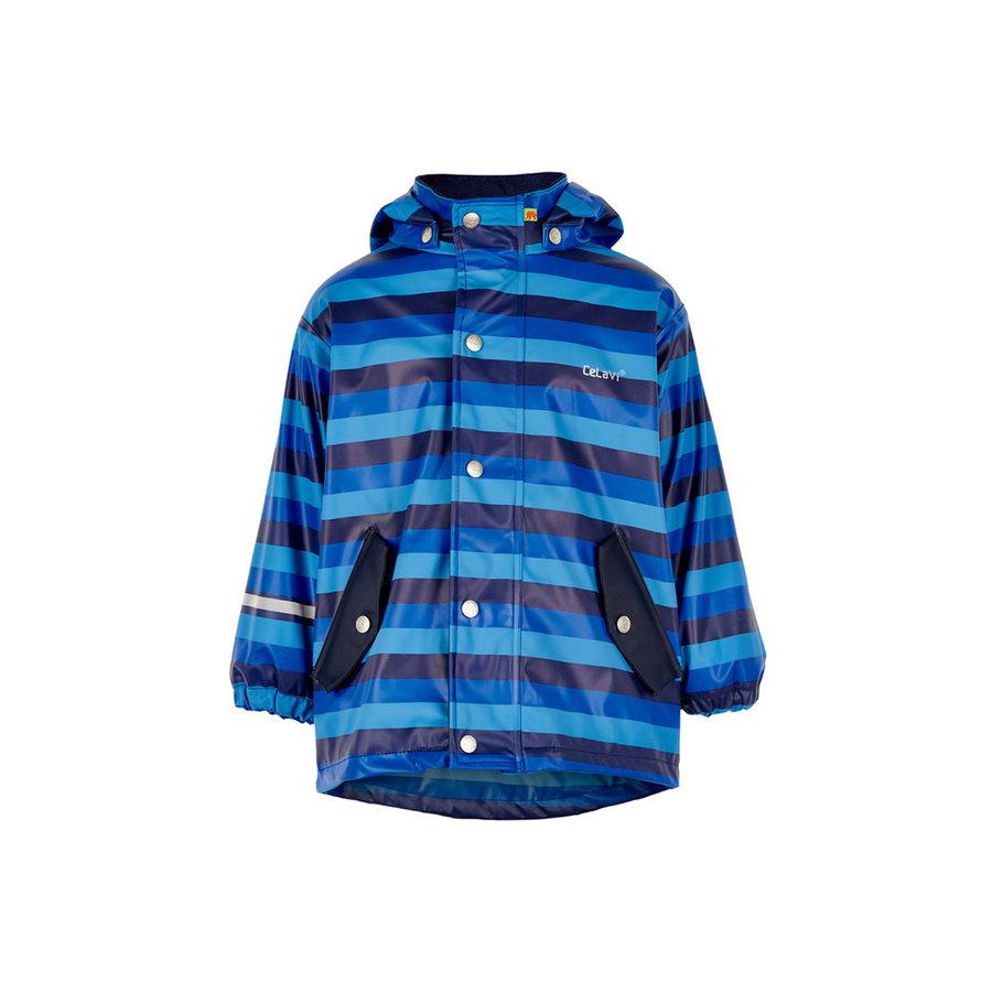 Kinderregenjas | gevoerd | blauwe streep| 80-140-1