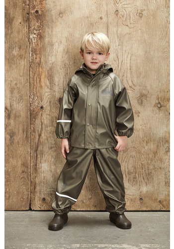 CeLaVi Children's rainsuit Metallic Tractor | Olive green 80-120