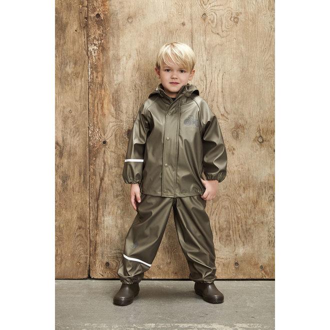 Children's rainsuit Metallic Tractor | Olive green 80-120