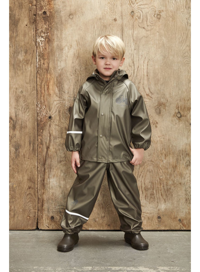 Children's rainsuit Metallic Tractor   Olive green 80-120
