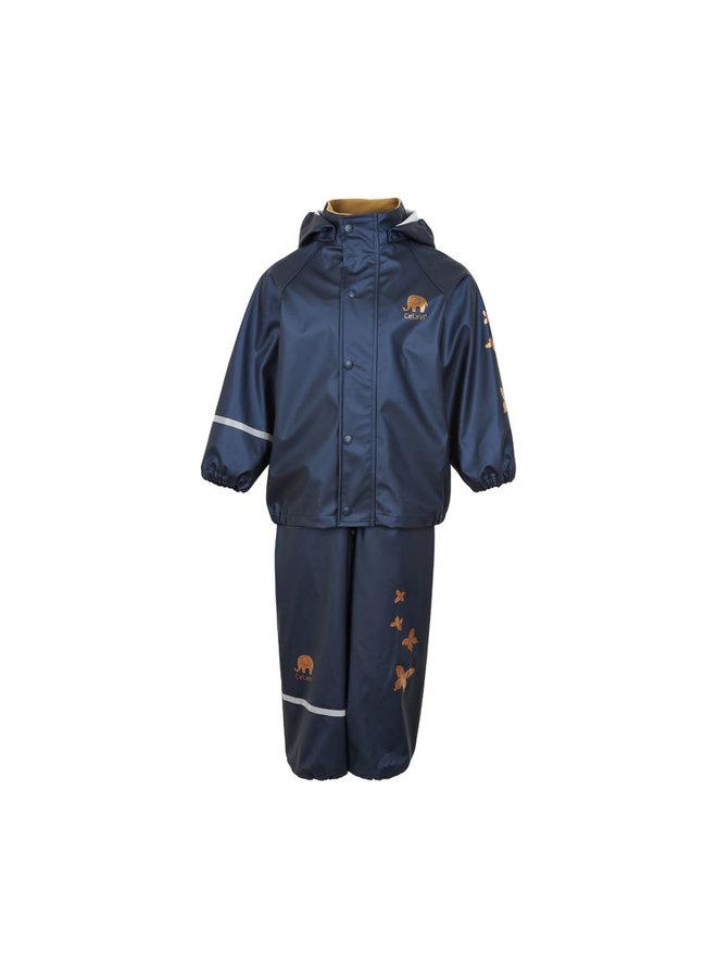 Kinderregenpak Metallic   Vlinders  navy  80-120