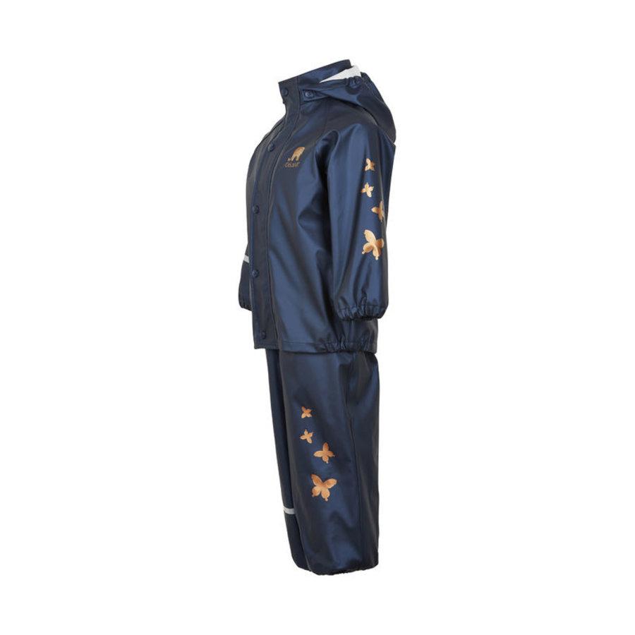 Kinderregenpak Metallic | Vlinders| navy| 80-120-3