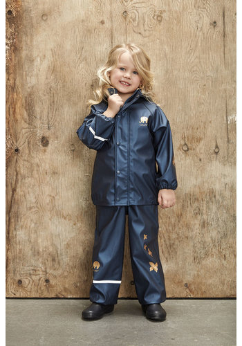 CeLaVi Children's rainsuit Metallic | Butterflies | Navy | 80-120