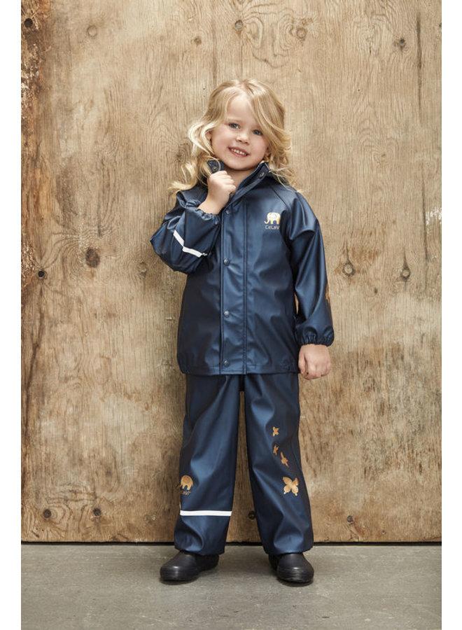 Kinderregenpak Metallic | Vlinders| navy| 80-120