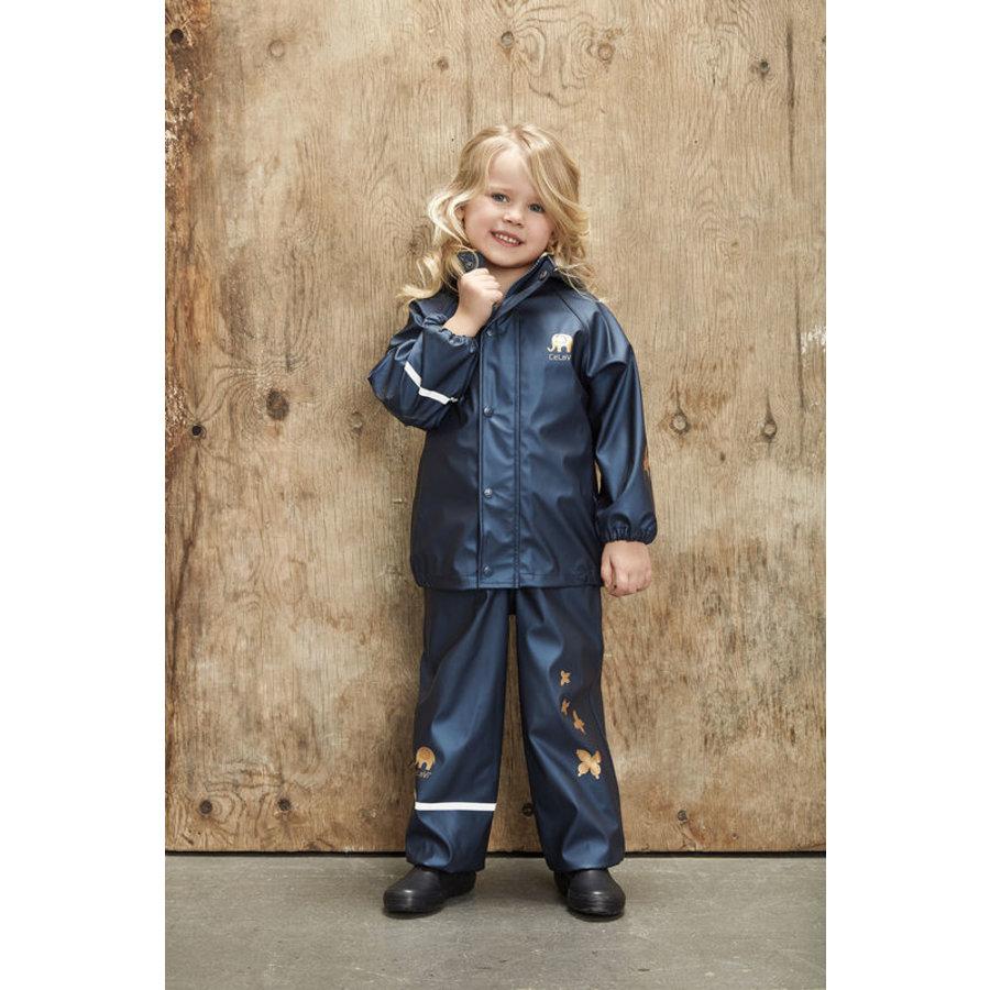 Kinderregenpak Metallic | Vlinders| navy| 80-120-1