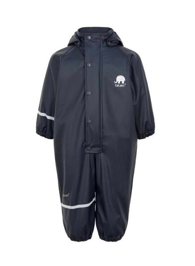 Fleece gevoerde kinder regenoverall | Navy blauw| 70-110