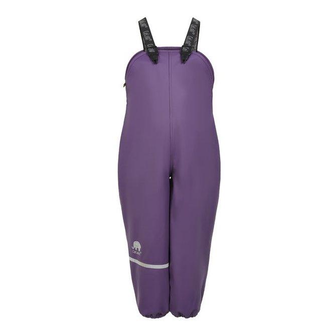 Fleece lined rain pants with suspenders | Purple | 80-140
