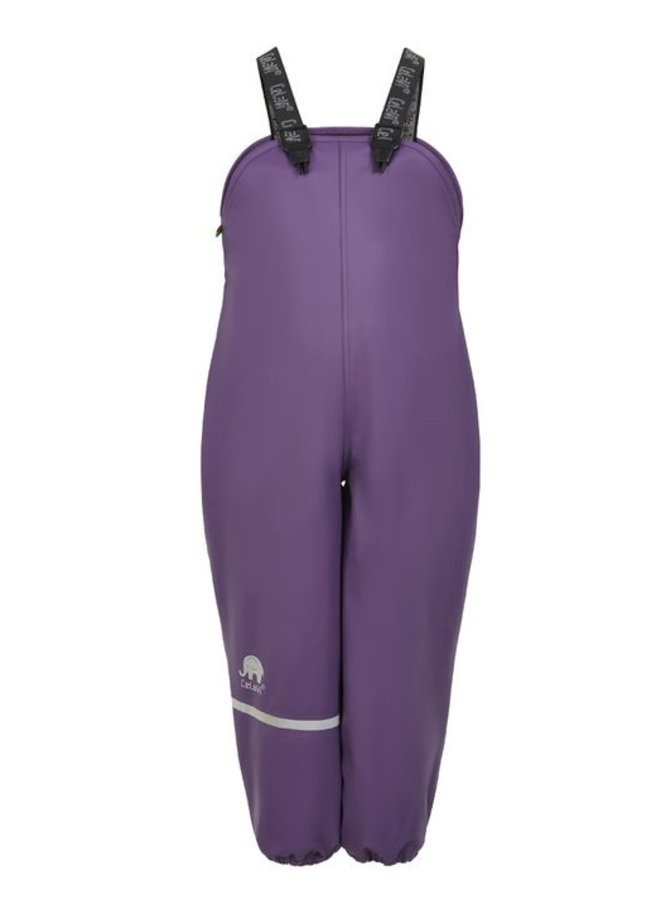 Fleece lined rain pants with suspenders | Purple | 80-140