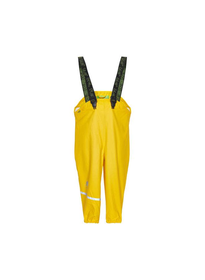 Duurzame kinderregenbroek   geel   bretels   110-130