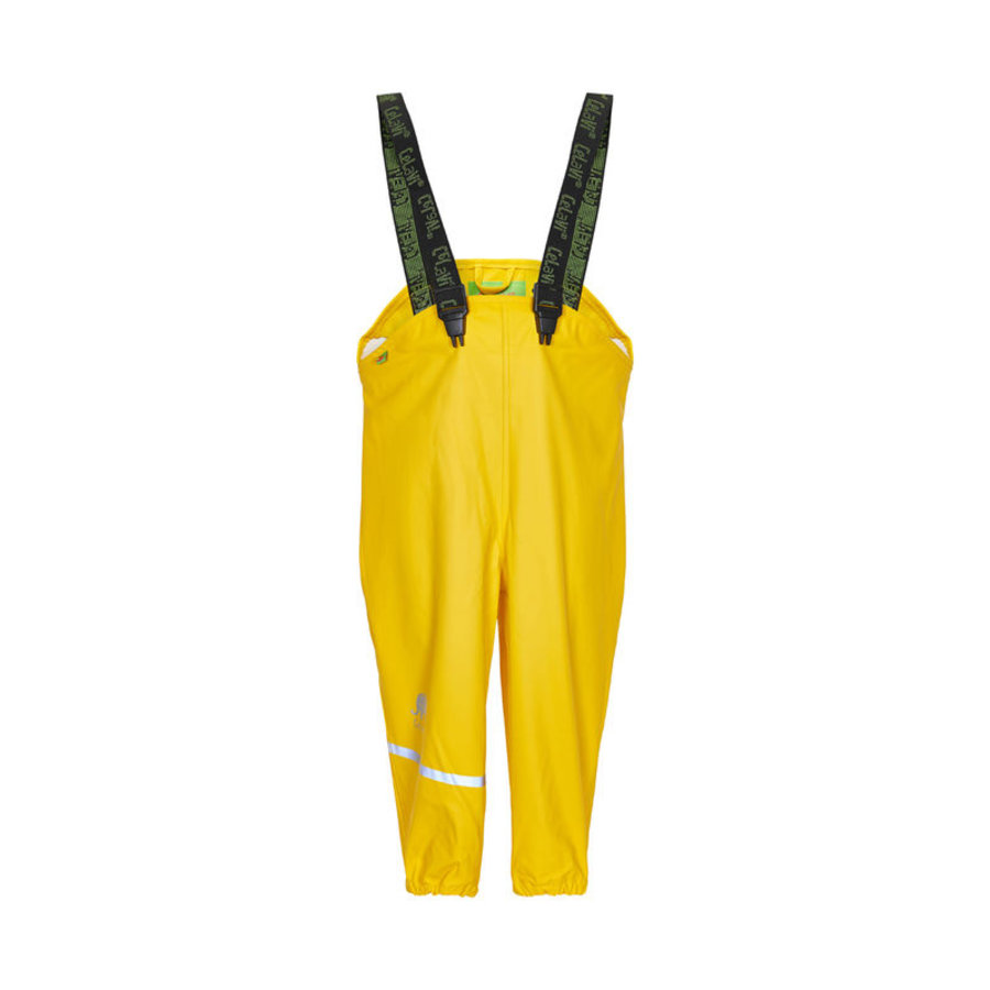 Duurzame kinderregenbroek | geel | bretels | 110-130-1