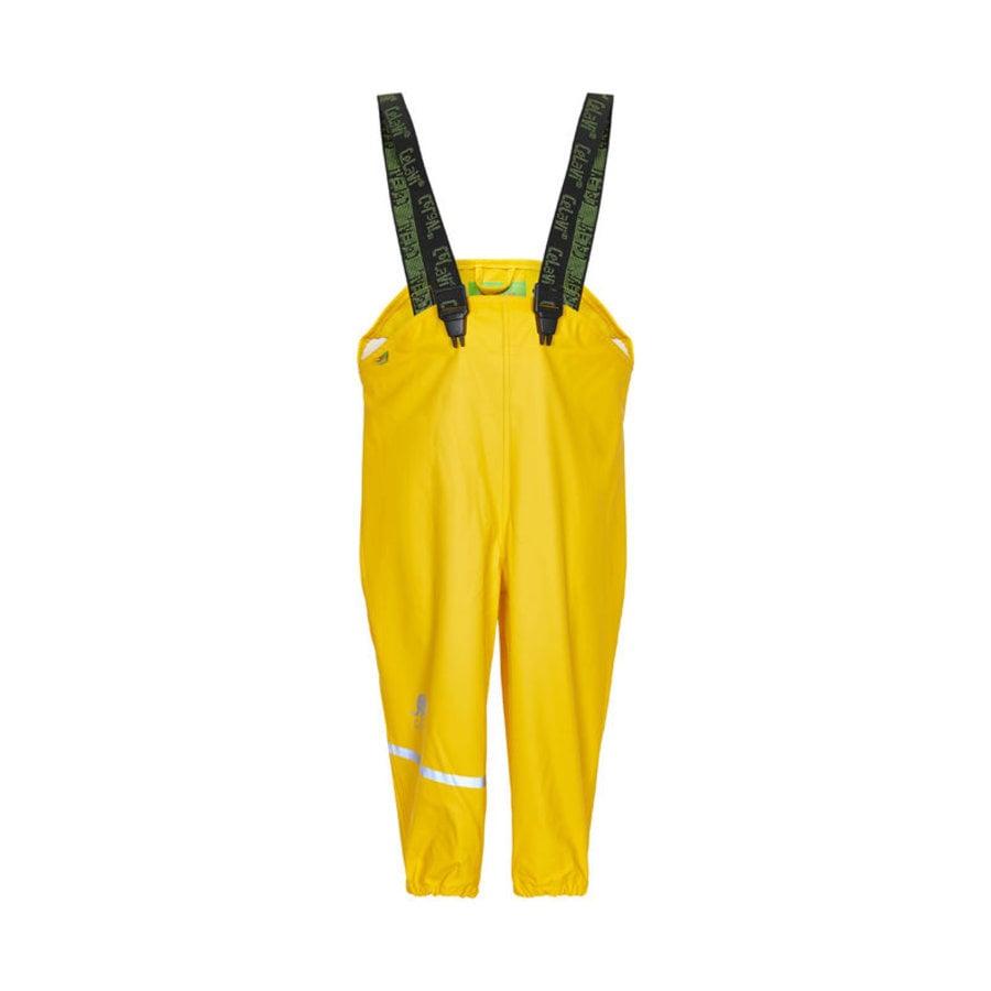 Sustainable children's rain pants yellow | braces | 110-130-1