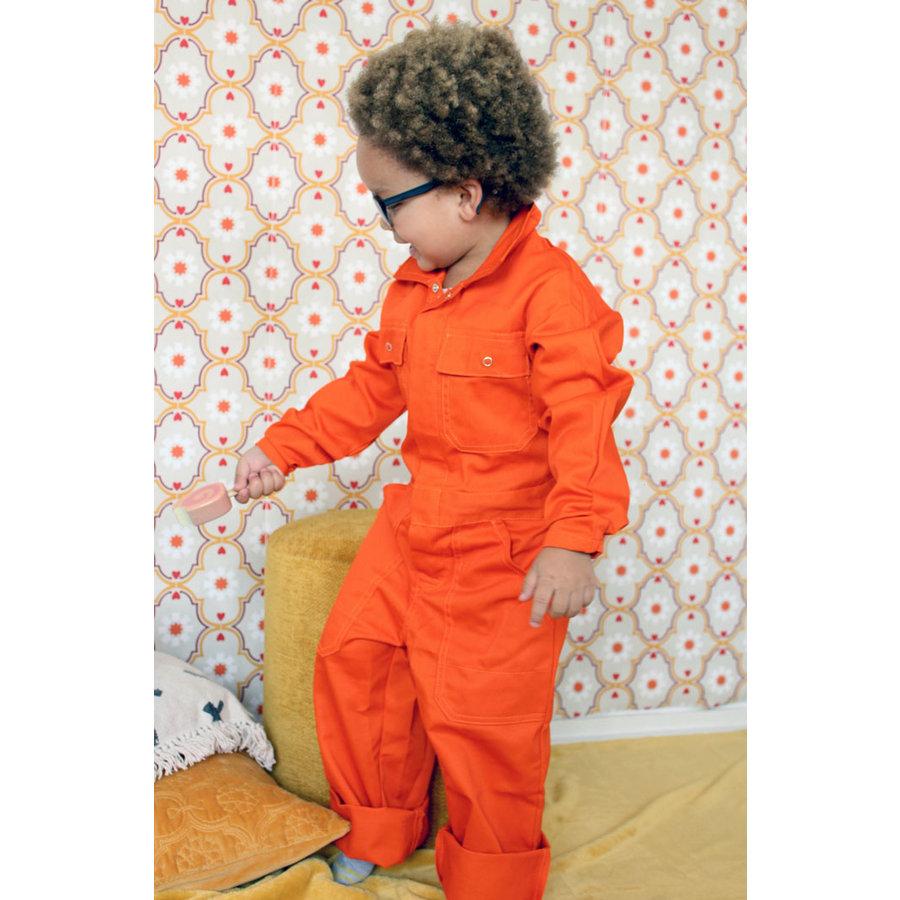 Oranje overall met naam of tekst bedrukking-5