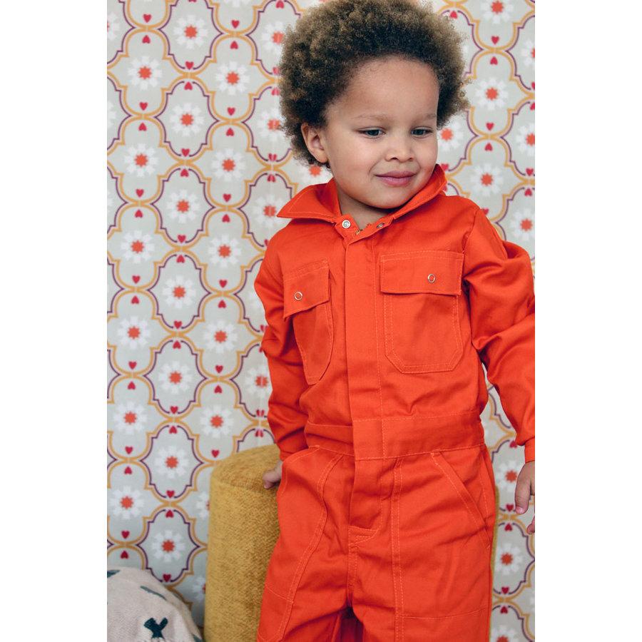 Oranje overall met naam of tekst bedrukking-2