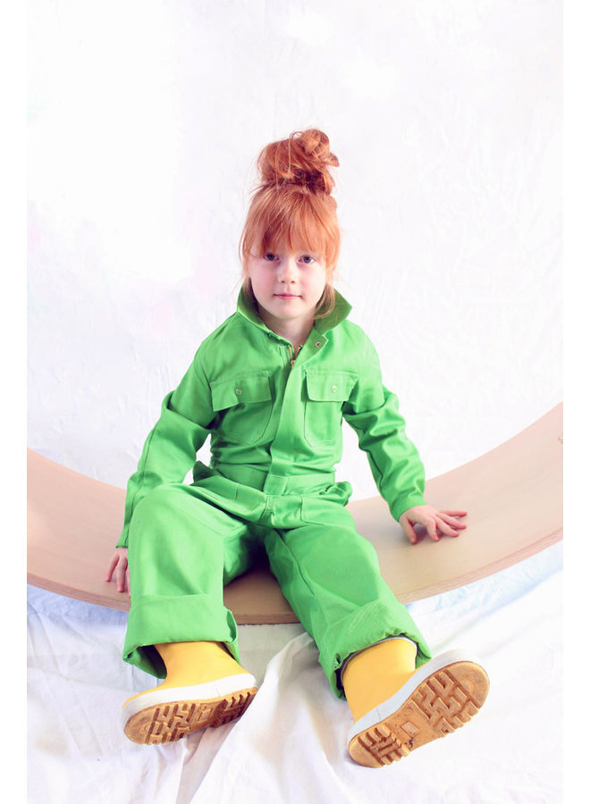 Apple green coverall with name or text print