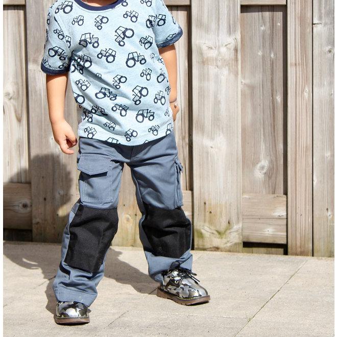 Gray-black basic children's work trousers, worker for child