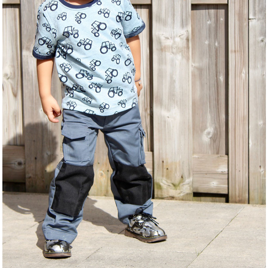 Basic work pants, worker for children in black /grey-1