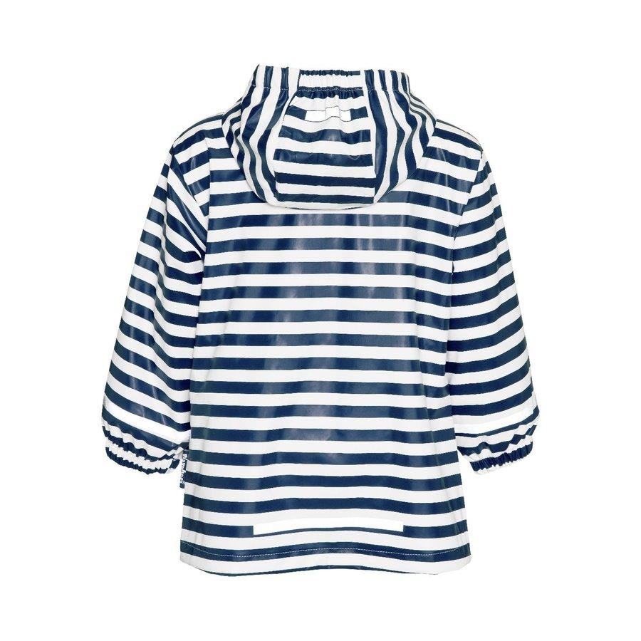 Kinderregenjas blauw wit gestreept met rode accenten| maat 80-110-3