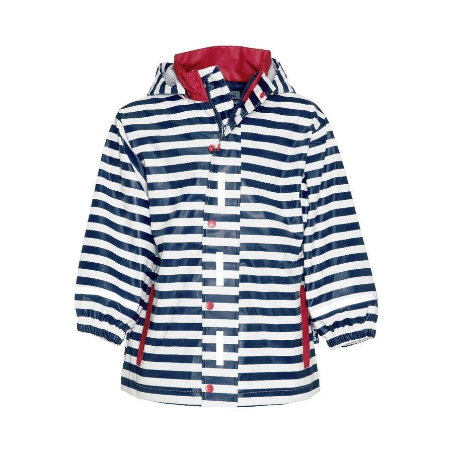 Kinderregenjas blauw wit gestreept met rode accenten| maat 80-110-1